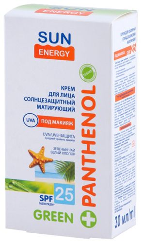 Green Panthenol Face Cream Matting SPF 25 30мл