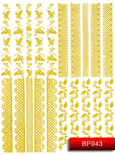 Nail Art Stickers BP043 Gold