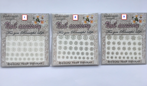 Nail Sticker Silver Snowflakes Assorted
