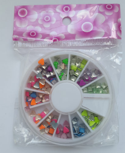 Nail Art Fimo Colored Hearts